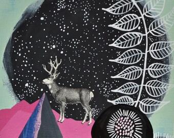 Woodland Nursery Art. Original Art. Deer Wall Art. Modern Nursery Decor. Kids Room Decor. Animal Art. Deer Painting. Mountain Wall Art.