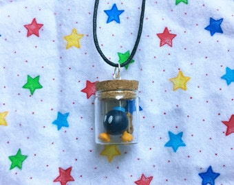 READY TO SHIP, Bob-omb in a Bottle Necklace