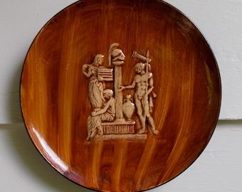 60s Greek Roman 3D Ceramic Hanging Plate