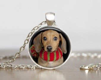 Christmas Holiday Dachshund Dog Pendant Necklace