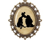 Lady and the Tramp Disney Silhouette Dogs Puppy Love Cameo Large or Small Handmade Bronze or Silver Necklace Jewellery