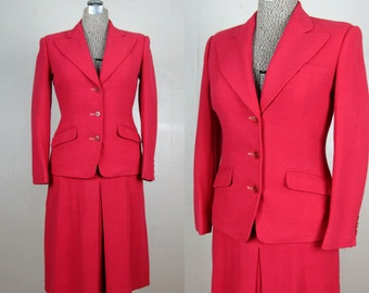 Vintage 1940s Wool Suit 40s Raspberry Pink Skirt Suit Size 4/S