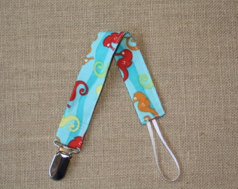 Blue Seahorse Pacifier Clip