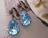 Something Blue Crystal Clip On Earrings - Swarovski Aquamarine Crystal drops - Clip On Crystal Earrings Something Blue
