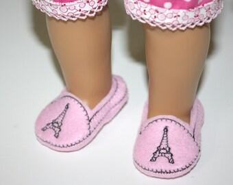 "18 inch Doll Shoes Paris Eiffel Tower on Pink Felt Easy Slip On Doll Shoes, fit 18"", American Girl, Bitty Baby dolls, 18 inch dolls"