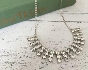 Elegant vintage necklace with rhinestone drops - bridal jewellery - gatsby style - hollywood glamour diamante - choker uk seller etsyuk etsy
