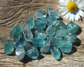 Blue Aqua Apatite Crystals, x23 , Small, Tumblestones, A Grade Natural, Untreated, Tumbled Crystals, 10g/50ct 7-13mm PEACE ~ CLARITY (2-605)