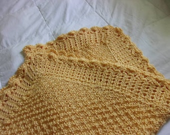 Hand Knit Baby Blanket in textured pattern with hand crocheted border - Golden Yellow - ready to ship