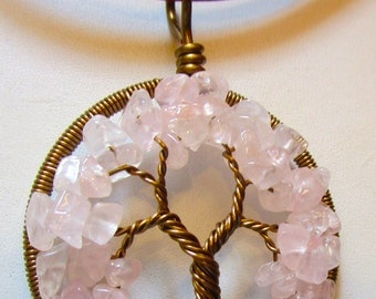 Tree of Life,  Rose Quartz Tree of Life, Rose Quartz Necklace, Rose Quartz & Antique Bronze Wire Wrapped Tree of Life