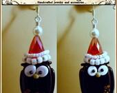 Santa Owl Holiday earrings-SRAJD-artisan lampwork earrings-swarovski pearl sterling silver earrings-womans jewelry-teen holiday jewelry