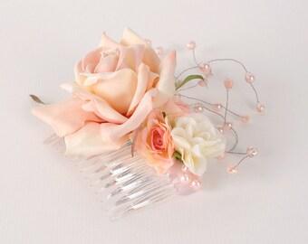 Wedding Hair Comb, Bridesmaid Headpiece,  Bridal Flower Head Piece, Wedding Hair Piece, Blush Pink Wedding Comb, Floral Fascinator