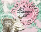 Shop Banner Set shop icon,new etsy cover/banner,avatar/profile picture -angel,vintage,pink,mint