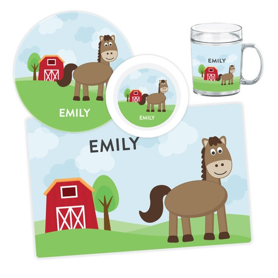 Il_570xn  sc 1 st  Catch My Party & Horse Plate Bowl Mug or Placemat - Horse Dinnerware Set ...