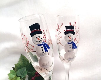 Snowmen hand painted pair of champagne flutes