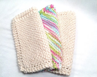 Pretty neutral and pastels set of cotton hand knit cloths