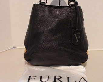 RARE Authentic Furla Pebble Brown Leather & Sheep Skin Purse with Dust Cover