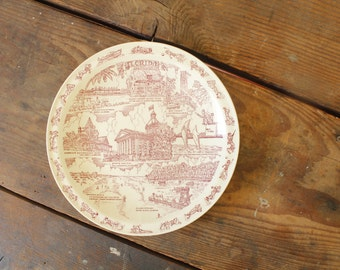 Vintage State Souvenir Plate Florida Vacation Landmarks Red Wall Hanging Plate Collage Vintage Decorative Collectible Plate Transferware