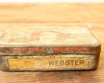 Vintage Tin Box Antique Cigar Tin Collectible Tobacciana Vintage Advertising Webster Cigar Company