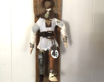 Handmade assemblage art vintage rustic wood and found objects art doll