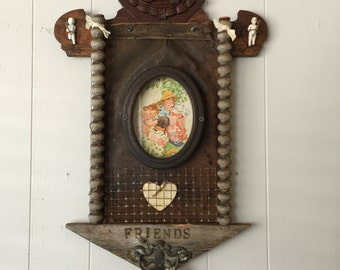"""Upcycled wall art assemblage altered vintage wood """"Friends"""" wall decor OOAK"""