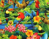 Birds, Parrots, Tropical Flowers, Parrot Fabric, Bird Fabric, Tropical Paradise by Timeless Treasures, 145526