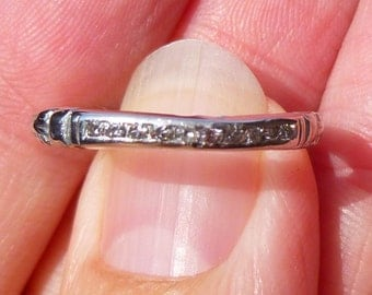 Art Deco Platinum stacker diamond band Classic 15 points Anniversary band or Wedding band or Stacker ring in PLATINUM Engraved 1/2/3?