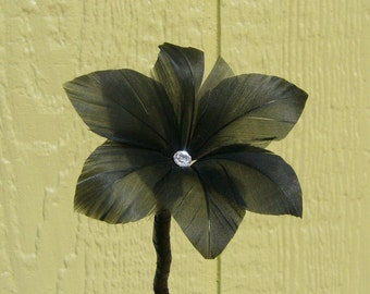 Handmade Gothic Lily Feather Flower - Black with Clear Facted Center Rhinestone - On Stem