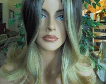 SPRING SALE - Natural Ombre Stylish Wig - Light Brown with Dark Roots - Durable Everyday Wig - Rockabilly - Natural Beauty