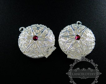 5pcs 27mm silver plated brass filigree round photo locket with red crystal DIY pendant charm supplies 1112026