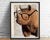 Smart RHINO Wearing Glasses Print, African Safari Animals Illustration, Dictionary Art Book Page Poster, Wall Art Home Decor 8x10 More Sizes