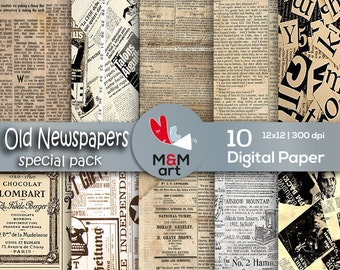 Print Old Nespaper Vintage Paper Vintage Newspapers Backgrounds Rustic Antique Paper Decoupage Packaging 12x12 inches