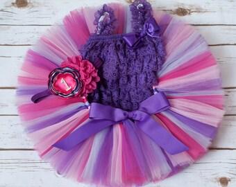 """Pink and purple tutu set """"Persephonee"""" pink purple birthday tutu outfit romper tutu headband pink birthday outfit pink tutu outfit purple"""