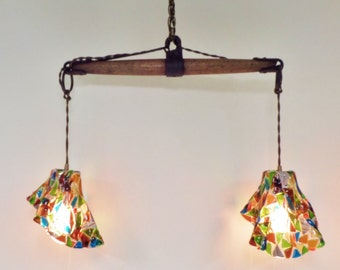 Vintage Industrial Chandelier with Fused Glass Shades - Horse Evener Wood and Cast Iron - Brass Canopy