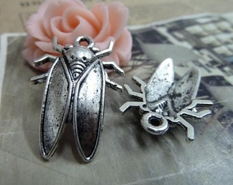 20pcs 22*32mm antique silver  cicada  insect charms pendant B367