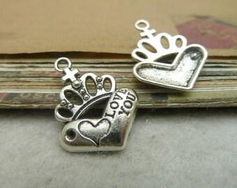 50pcs 18*23mm antique silver  crown love  you charms pendant C7127