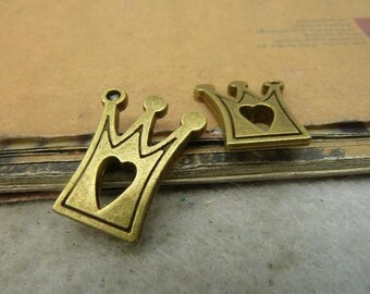 20pcs 17*21mm antique bronze crown charms pendant C4928