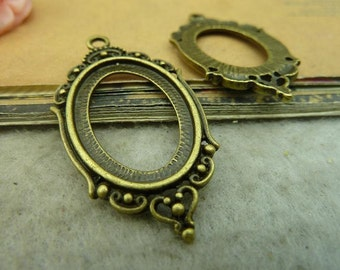 10pcs 25x18mm antique bronze cabochon pendant settings C3780