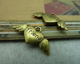 30pcs 13x26mm antique bronze friend heart wing flyer charms pendant C6353