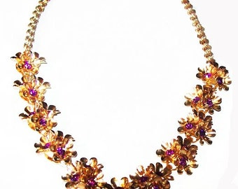 "Purple Rhinestone Bib Necklace Flower Design Gold Metal Hook Clasp 18"" Vintage"