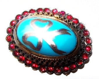 "Art Nouveau Sterling Brooch Red Rhinestones & Aqua Art Glass Hand Painted Ribbon 1.5"" Vintage"