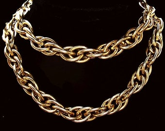 """Gold Curb Chain Necklace BIG Twisted Links Heavy Fashion Mid Century 30"""" L Vintage"""