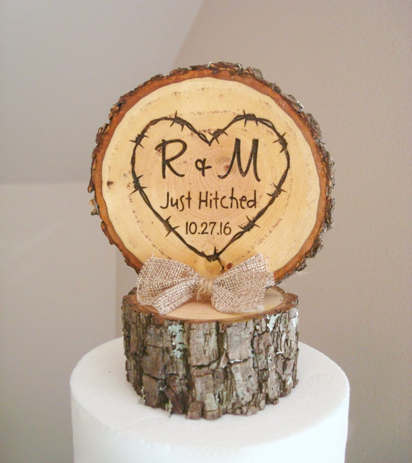 Wooden Heart Wedding Cake Topper