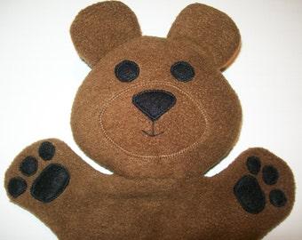"13"" Fleece Bear Hand Puppet - Ready to Ship!"