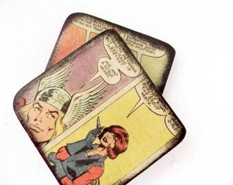 Marvel coasters, Avengers coasters, Iron Man coasters, Thor coasters, comics caosters, comic book home decor, geeky home decor, superhero