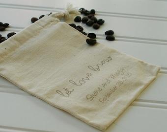 Coffee Wedding Favor Bags - Set of 100. Cotton Muslin Drawstring Bags. Coffee Beans. Wedding Favors. Let Love Brew.  Script Font.