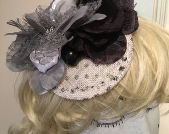Black White Grey polka dot fascinator flower tilt mini hat