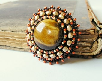 Cabochon embroidery brooch Bead embroidered Brooch Tigers eye Brooch Beaded brooch Brown Gold Orange Brooch MADE TO ORDER