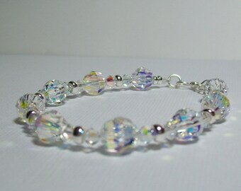 Sterling Silver Swarovski Crystal Bracelet. Dressy. Sparkly. Wedding.