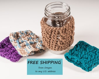 Cafe Mason Jar Cozy, Cabled, Jar Sleeve, US Shipping Included - Ready to Ship
