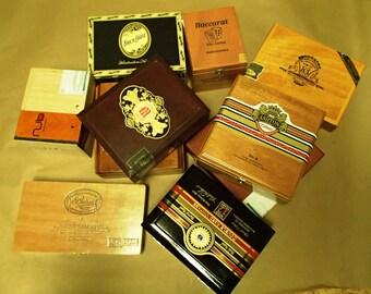 10 pc Wooden Cigar box lot - macanudo, romeo & juliet, cohiba, fuente, - Wedding centerpiece